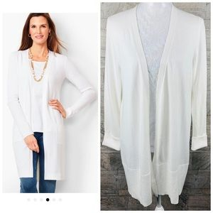 Talbots White Open Front Duster Cardigan Medium